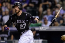 DENVER, CO - AUGUST 19: Trevor Story #27 of the Colorado Rockies hits a leadoff double in the seventh inning of a game at Coors Field on August 19, 2017 in Denver, Colorado. (Photo by Dustin Bradford/Getty Images)